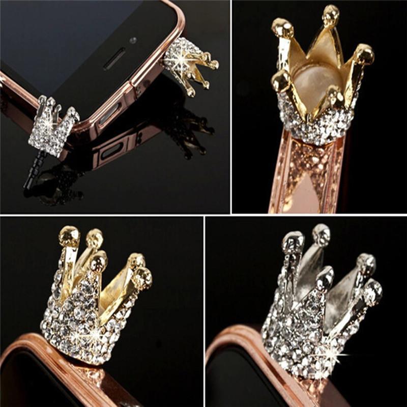 1PC Hot Luxury Rhinestone 3.5mm Crown Anti Dust Earphone Plug Cover Stopper Cap For Smart Phone thumbnail