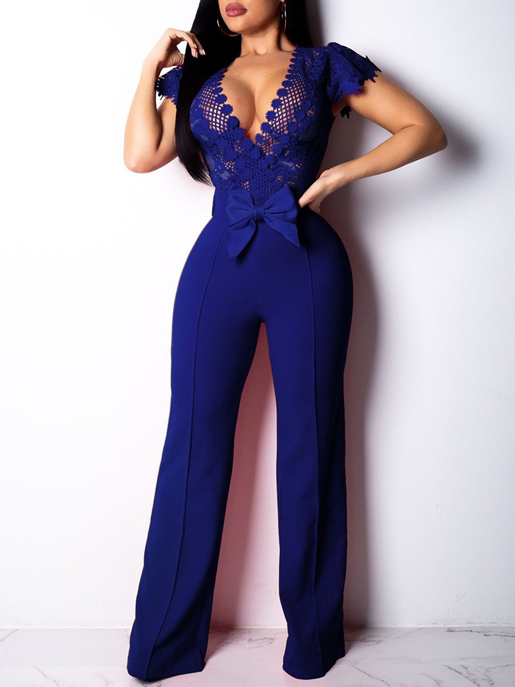 boutiquefeel / Lace Bodice Bowknot Embellished Jumpsuit