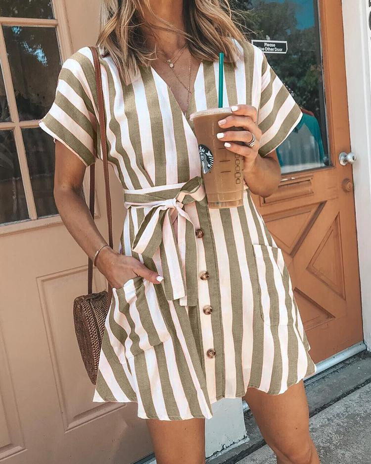Striped Button Belted Pocket Design Dress thumbnail