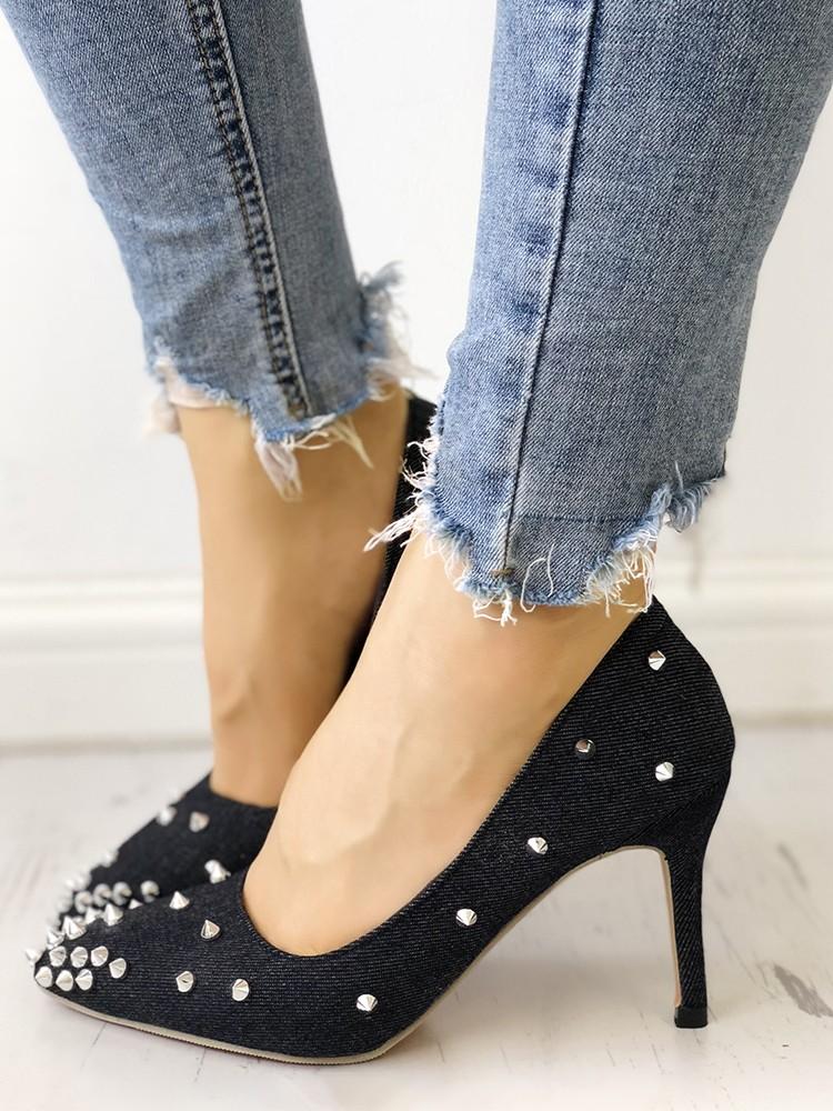 boutiquefeel / Rivets Embellished Pointed Toe Denim Thin Heels
