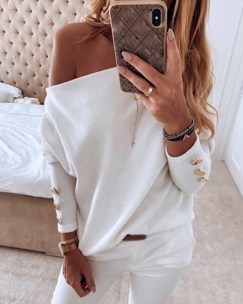 Solid Off Shoulder Buttoned Blouse by Chic Me