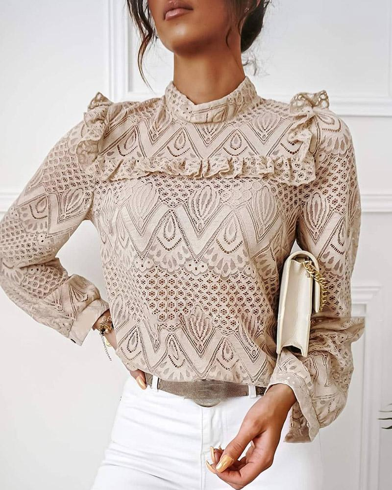Lace Frill Hem Hollow Out Long Sleeve Top thumbnail