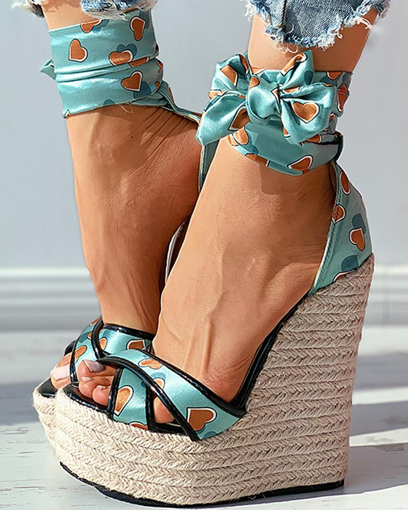 Heart Print Satin Bowknot Woven Flax Wedge Sandals