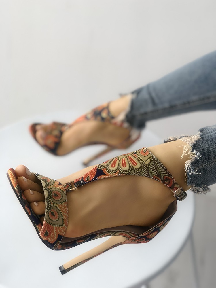 27043de099f6 Peacock Feather Print T-Strap Thin Heeled Sandals