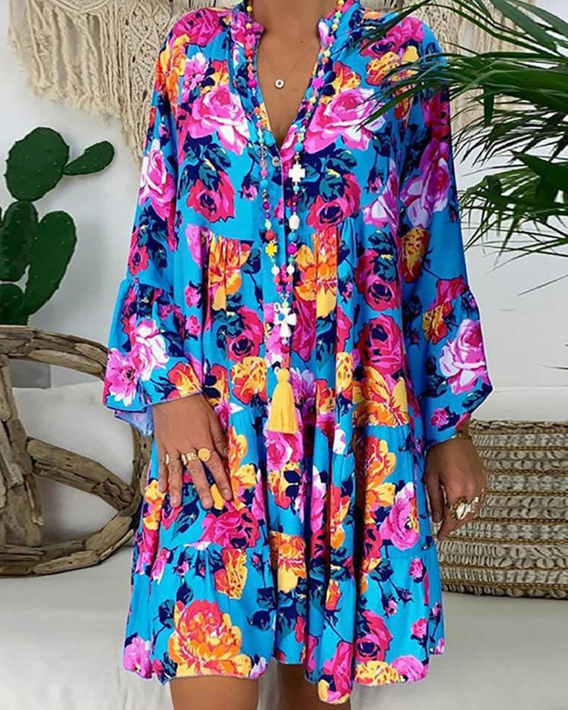 All Over Print Long Sleeve Ruffle Hem Mini Dress, Style1