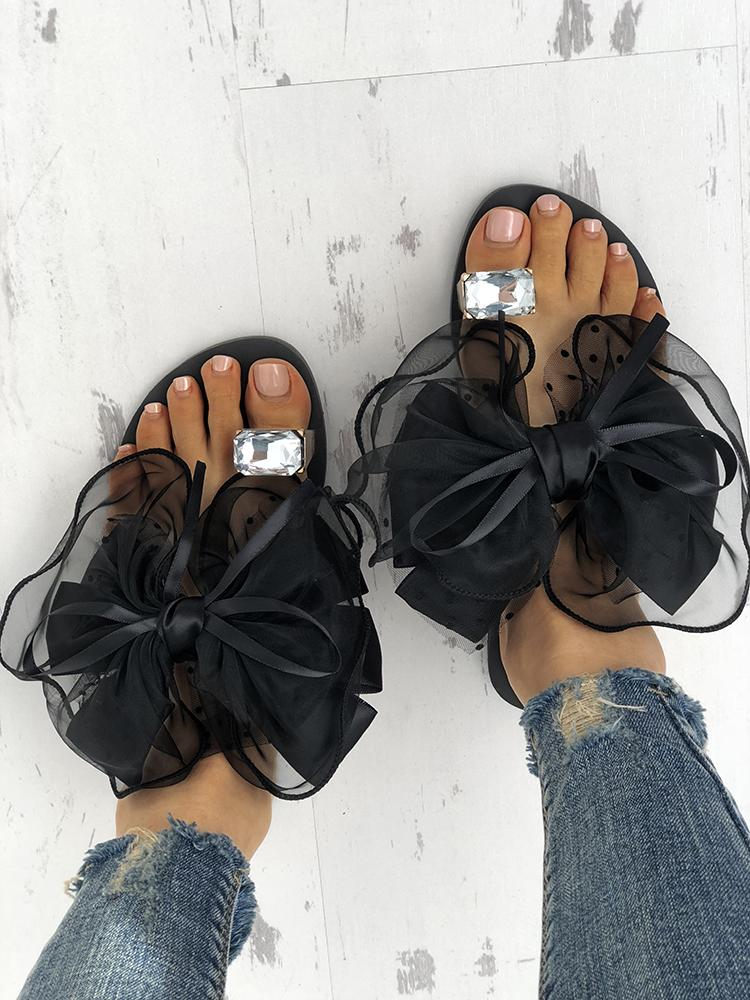4313631a25f4a Fashion Cute Big Bow Tie Sandals Non Slip Flat Sandals Online. Discover  hottest trend fashion at chicme.com