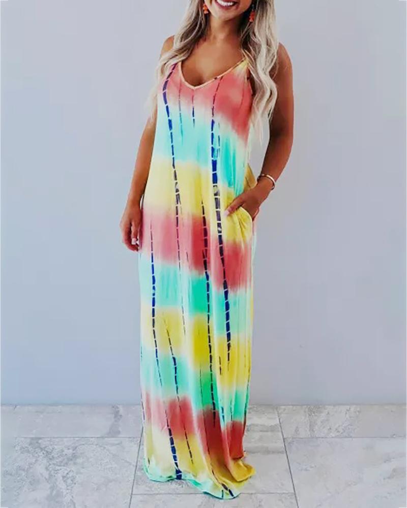 Tie Dye Print Spaghetti Strap Casual Dress thumbnail