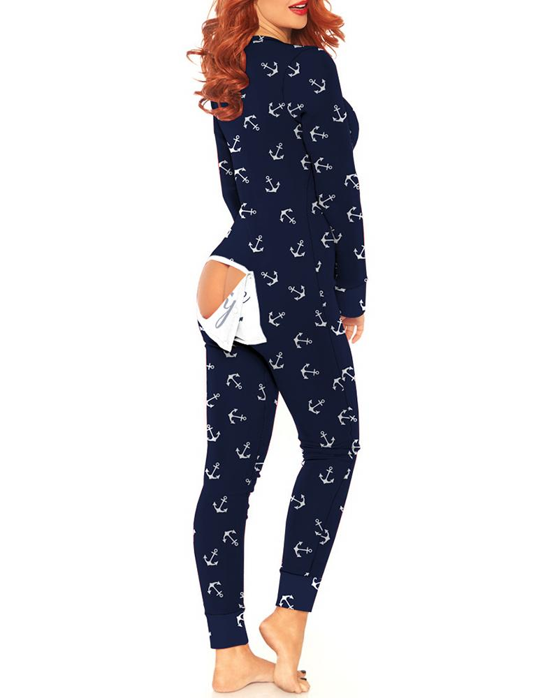 Boat Anchor Print Functional Buttoned Flap Adults Pajamas