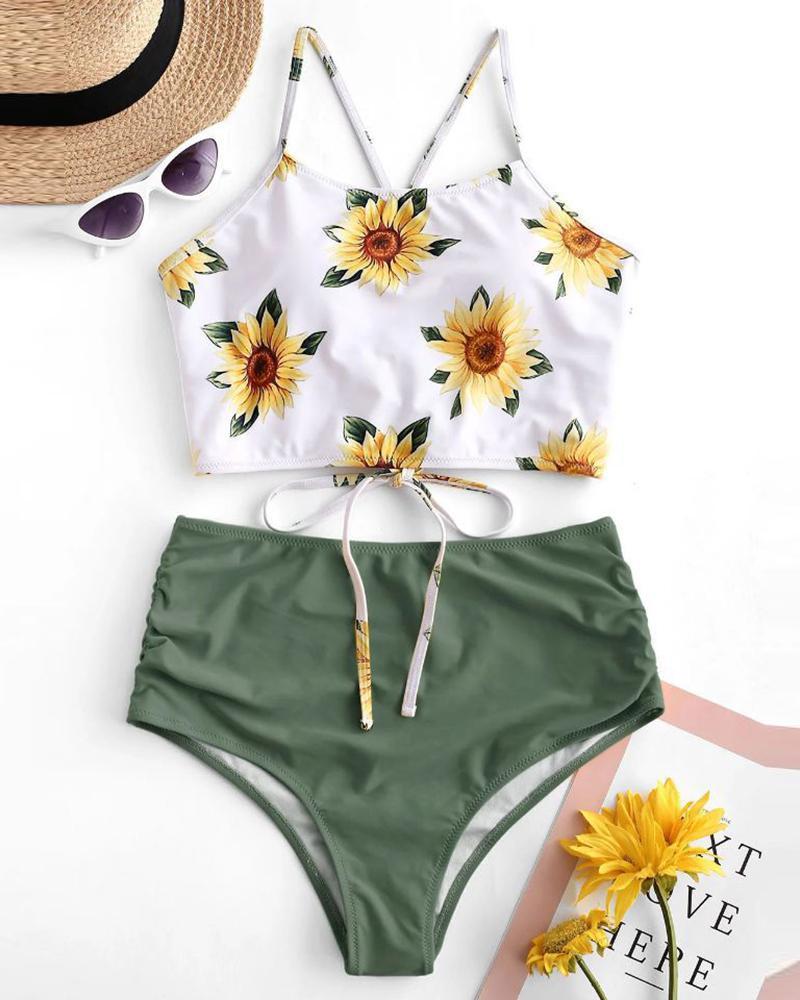 Sunflower / Palm Leaf Print Colorblock Padded Tankini Set thumbnail