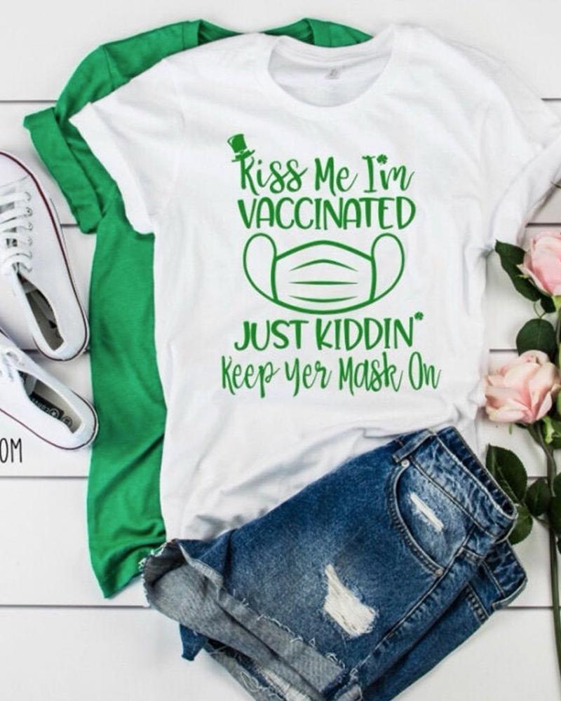 St.Patrick's Day Clover Letter Print Short Sleeve T-Shirt