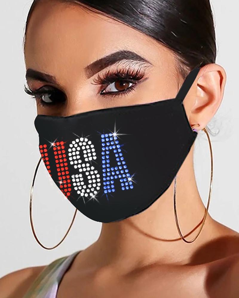 Flag Letter Floral Pattern Studded Bling Rhinestone Face Mask thumbnail