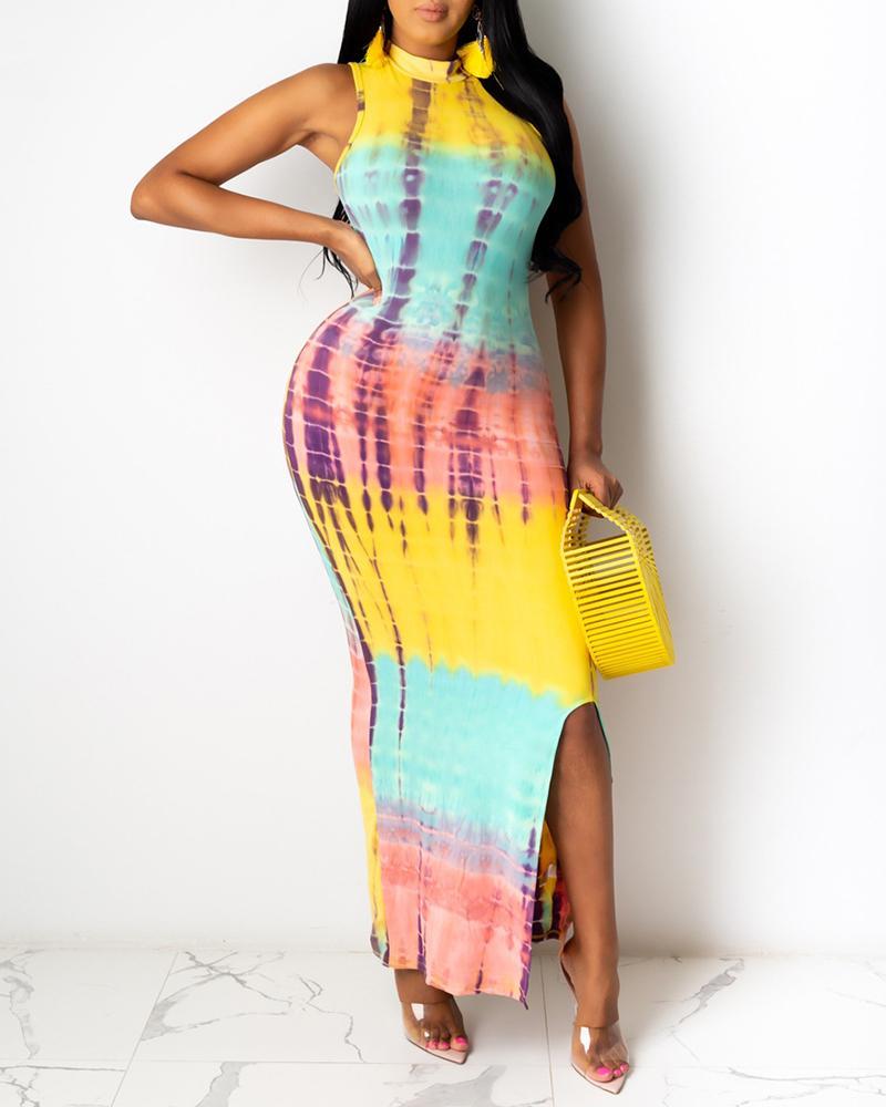 Tie Dye Print Slit Sleeveless Maxi Dress thumbnail