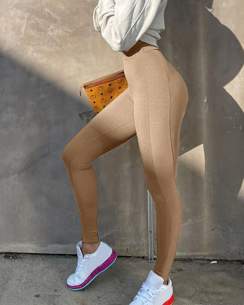 High Waist Ribbed Seamless Sports Leggings