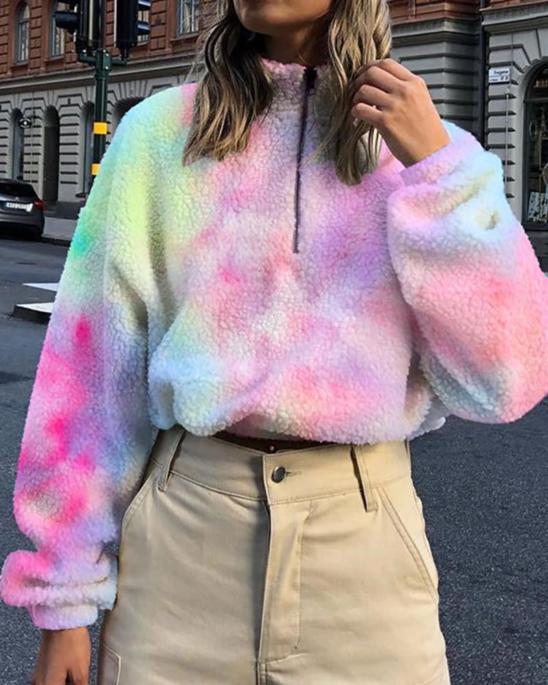 Tie Dye Print Half Placket Fluffy Sweatshirt thumbnail