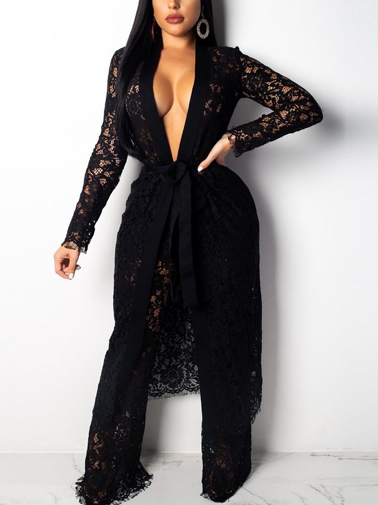 boutiquefeel / Lace Open Front Long Coat & Wide Leg Pants Sets