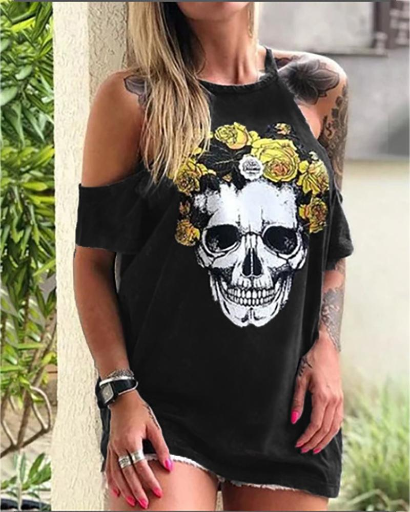 Skull Floral Print Cold Shoulder T-shirt thumbnail