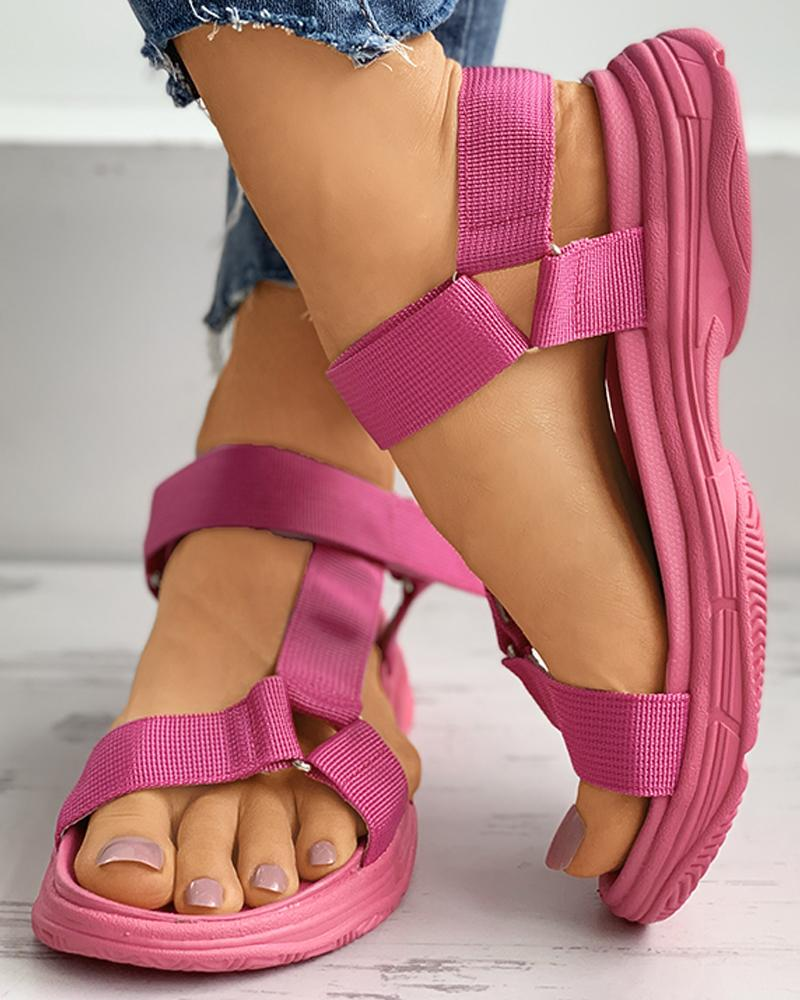 Colorblock Solid Velcro Slingback Platform Sandals thumbnail