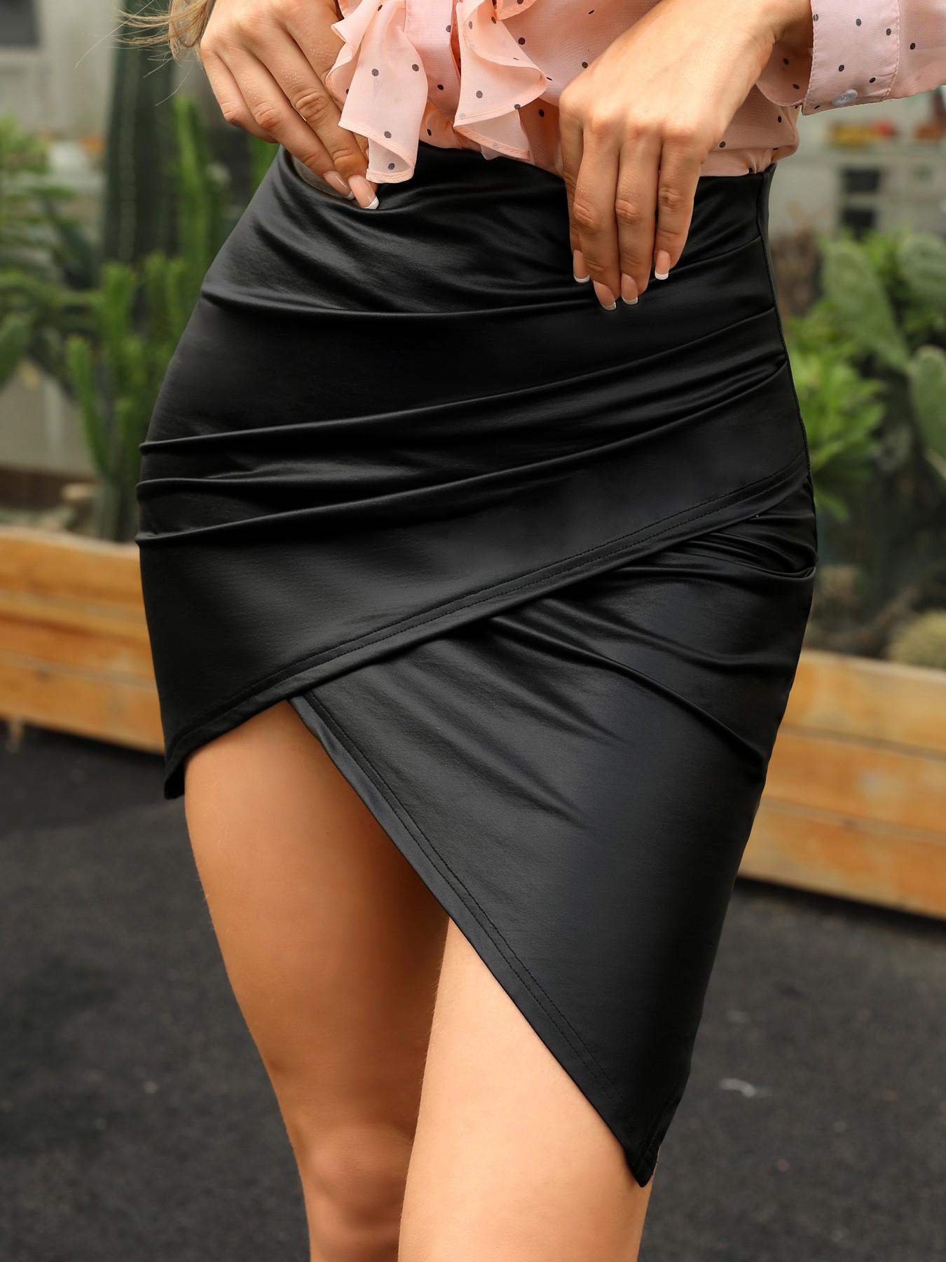 boutiquefeel / High Waist Ruched Irregular Skirt