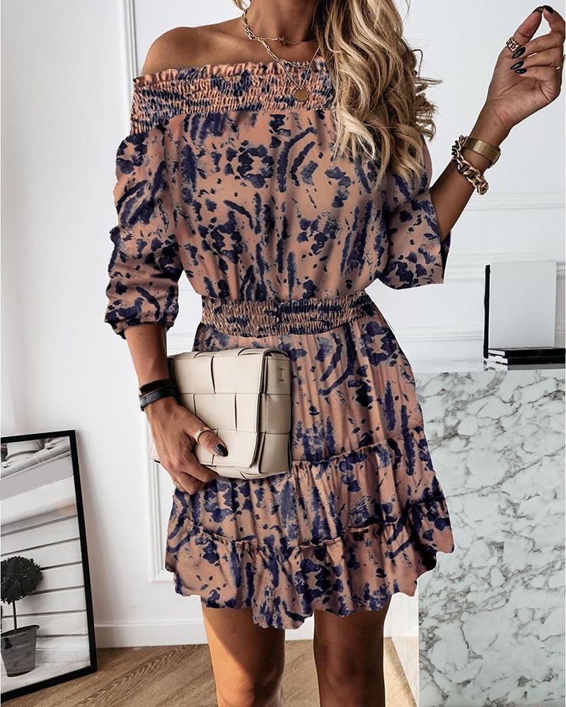Tie Dye Print Off Shoulder Frill Hem Ruched Dress thumbnail