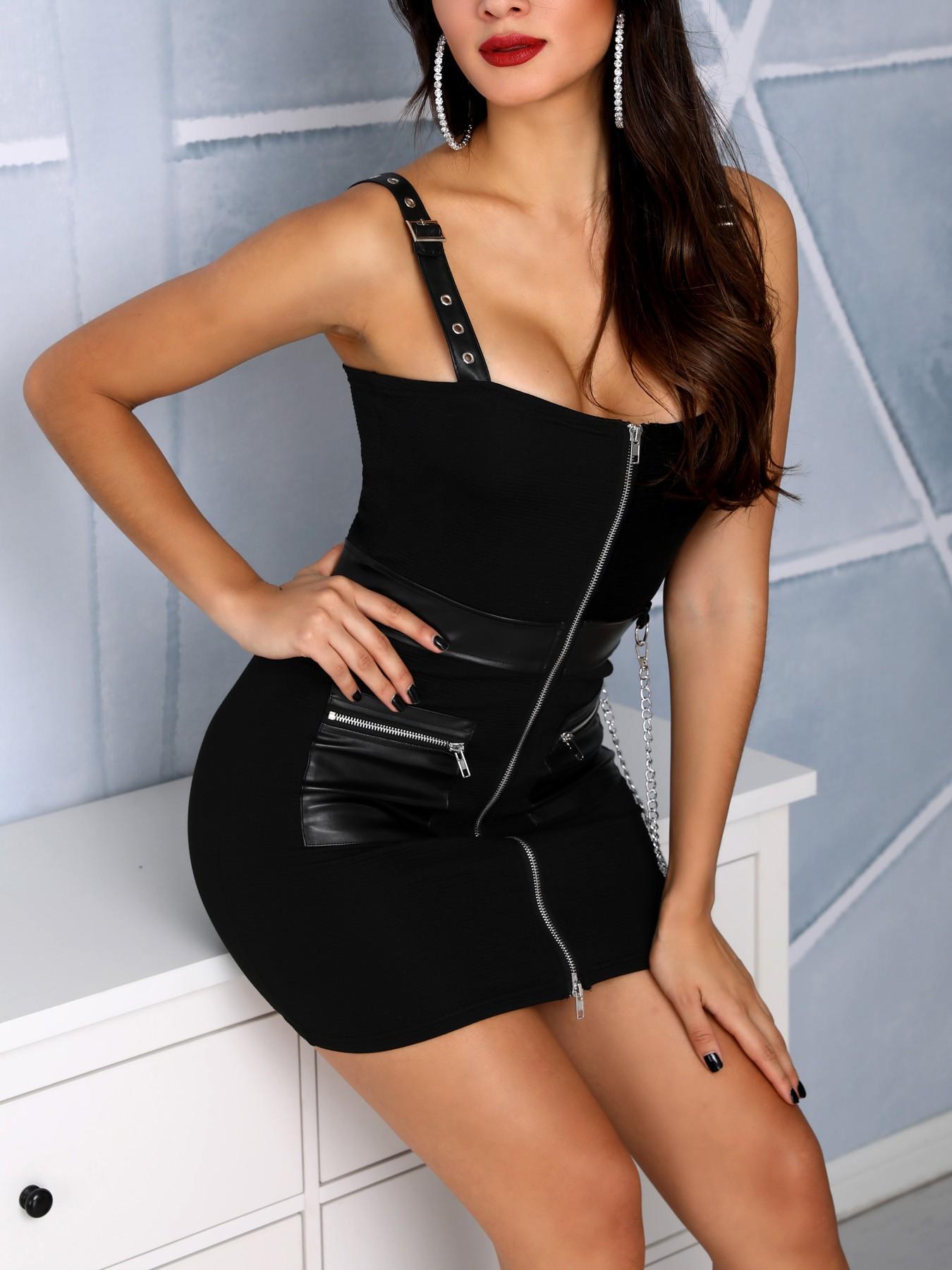 boutiquefeel / Eyelet PU Splicing Zip Bodycon Dress