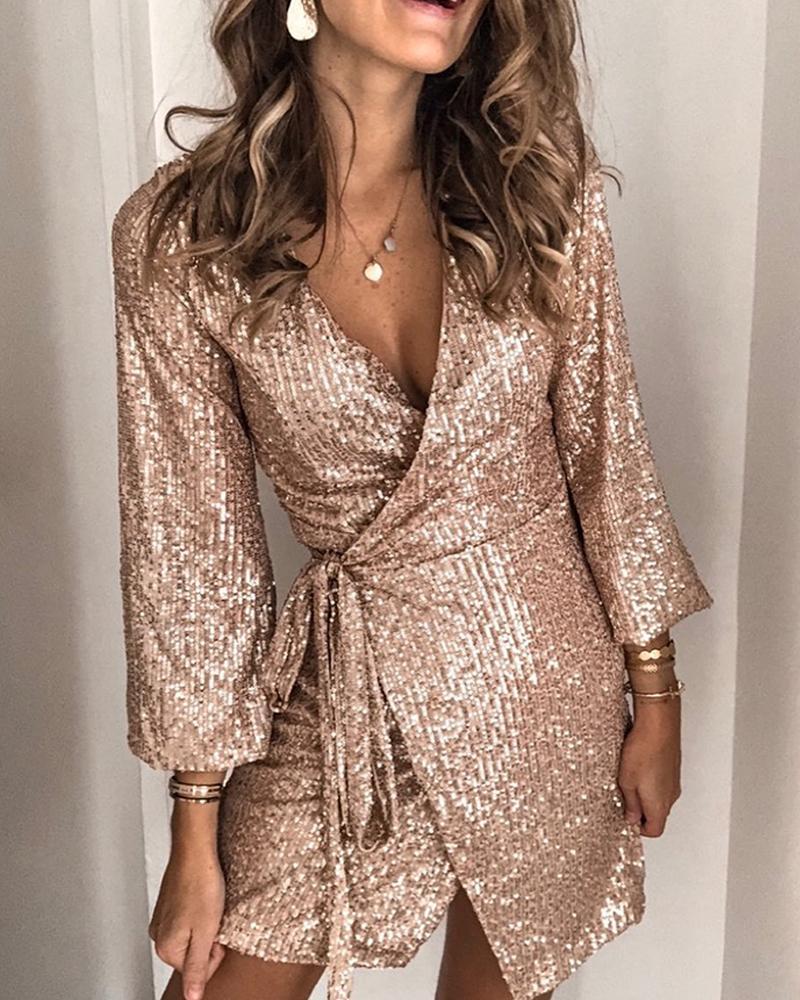 Sequined Tie Waist Mini Dress