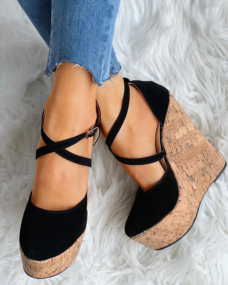 Crisscross Ankle Strap Wedge Platforms Sandals thumbnail