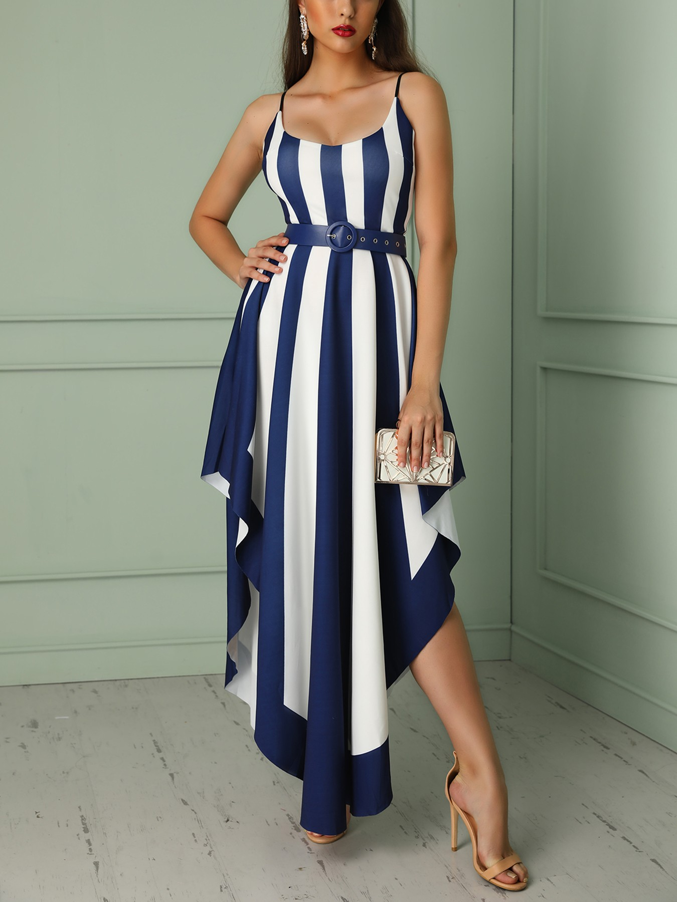 Contrast Striped Belted Irregular Party Dress