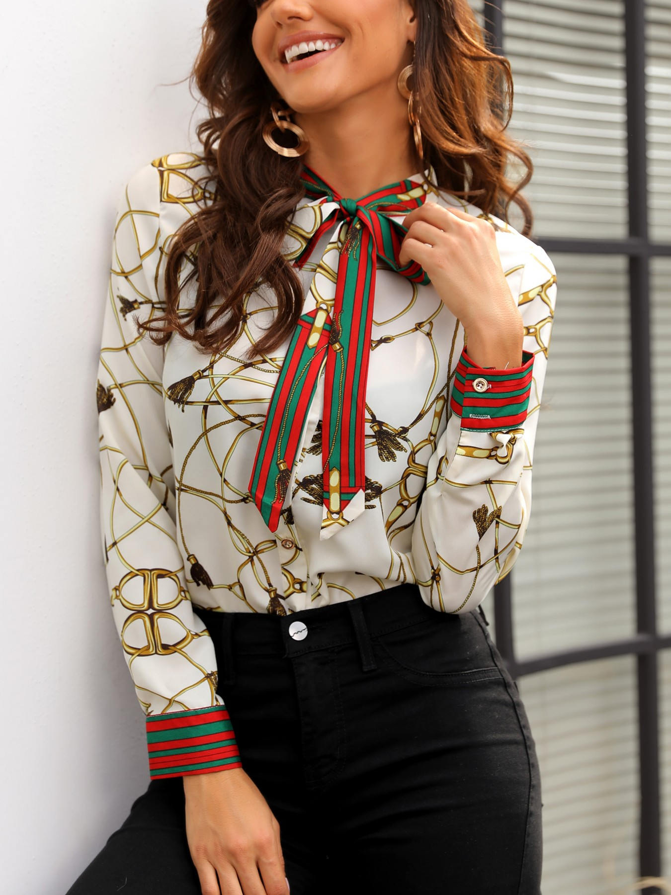 Scarf Print Striped Bowknot Casual Shirt