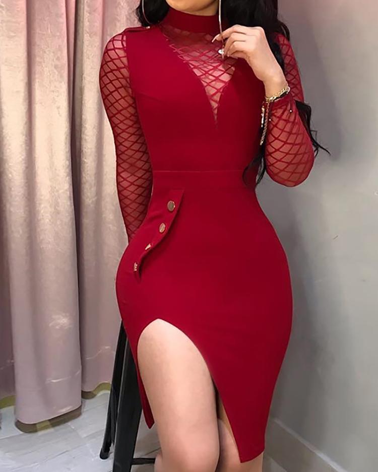 Sheer Mesh Insert Slit Bodycon Dress