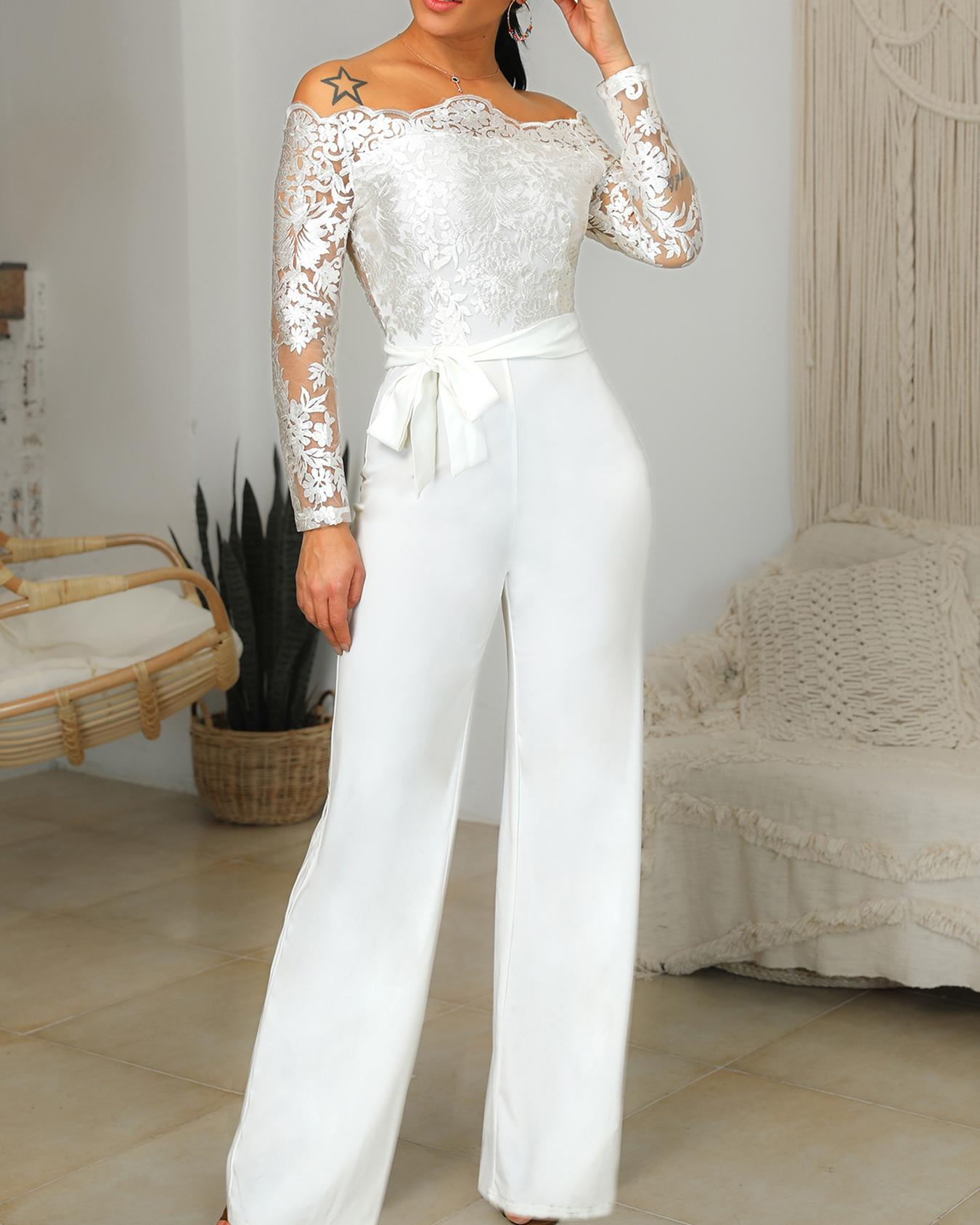 db8fa10d99a5 Off Shoulder Belted Lace Bodice Jumpsuit Online. Discover hottest trend  fashion at chicme.com