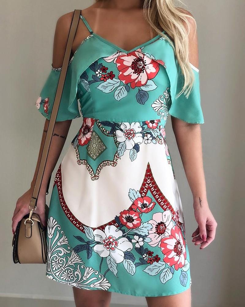 Floral Print Cold Shoulder Casual Dress