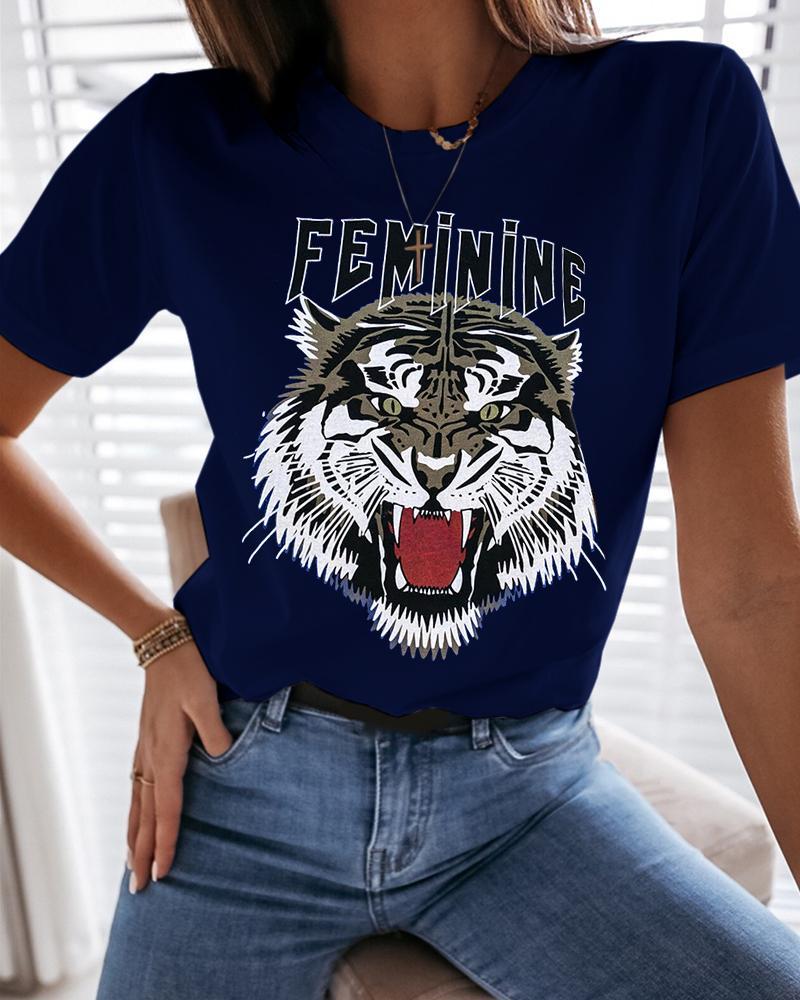 Tiger Letter Print Casual T-shirt thumbnail