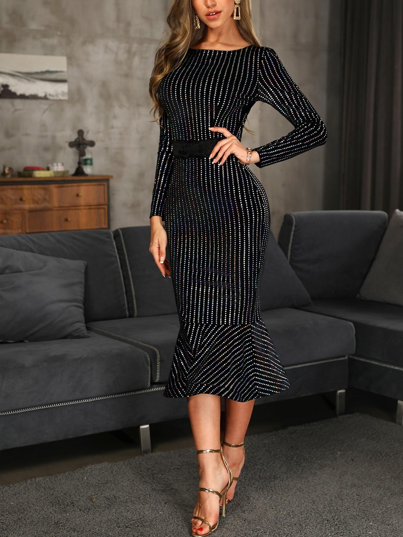 boutiquefeel / Glitter Stud Detail Long Sleeve Fishtail Dress