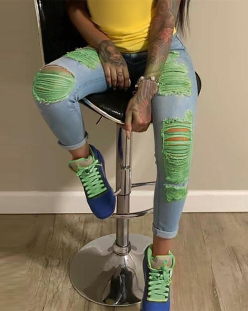 Colorblock Ripped Cutout Casual Jeans thumbnail
