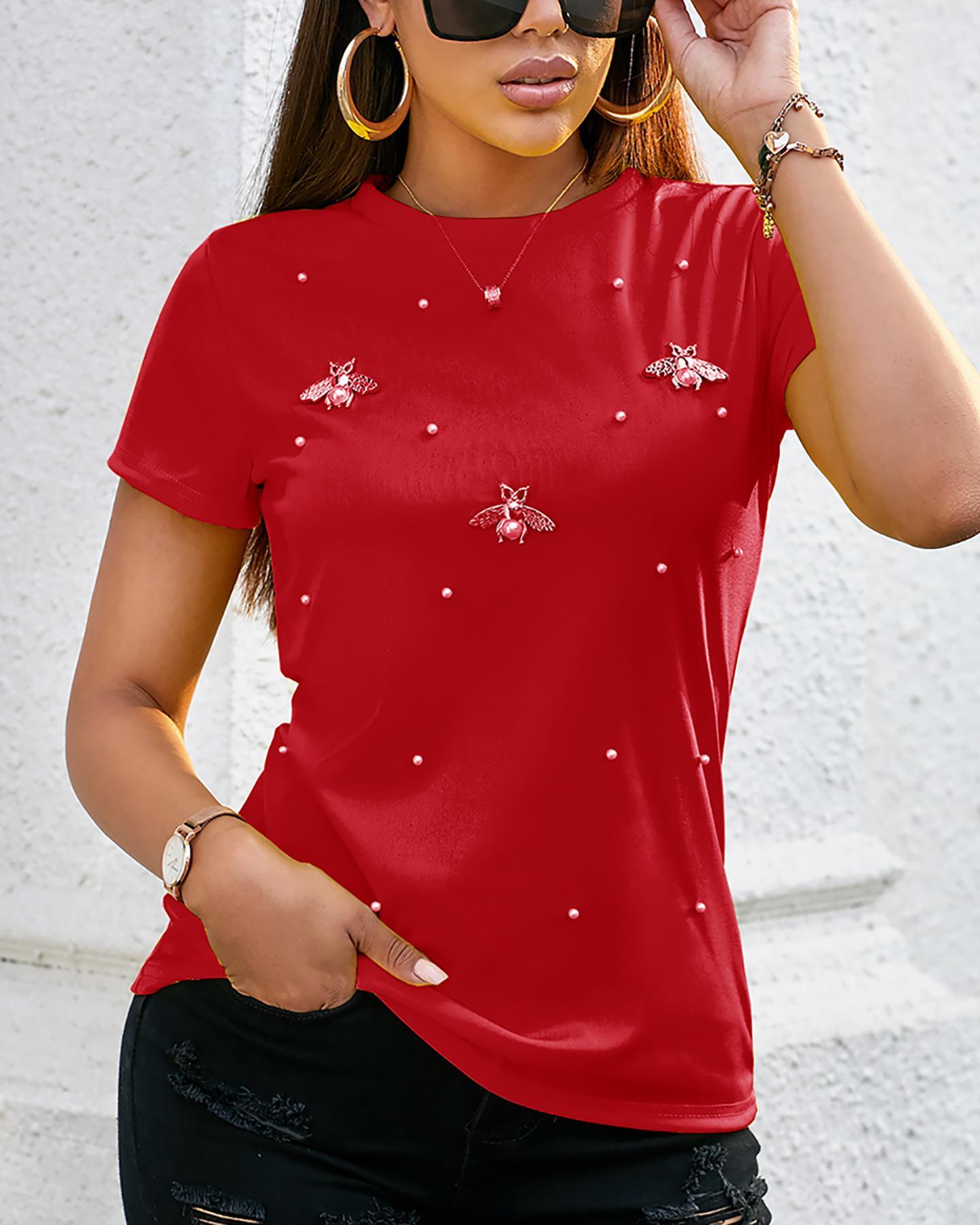 Beaded Detail Short Sleeve T-Shirt thumbnail