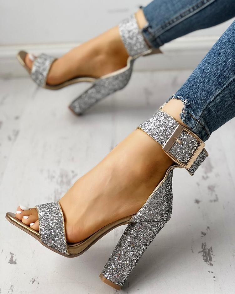 00e22102bba Stylish Sequin Open Toe Chunky Heeled Sandals Online. Discover hottest  trend fashion at chicme.com