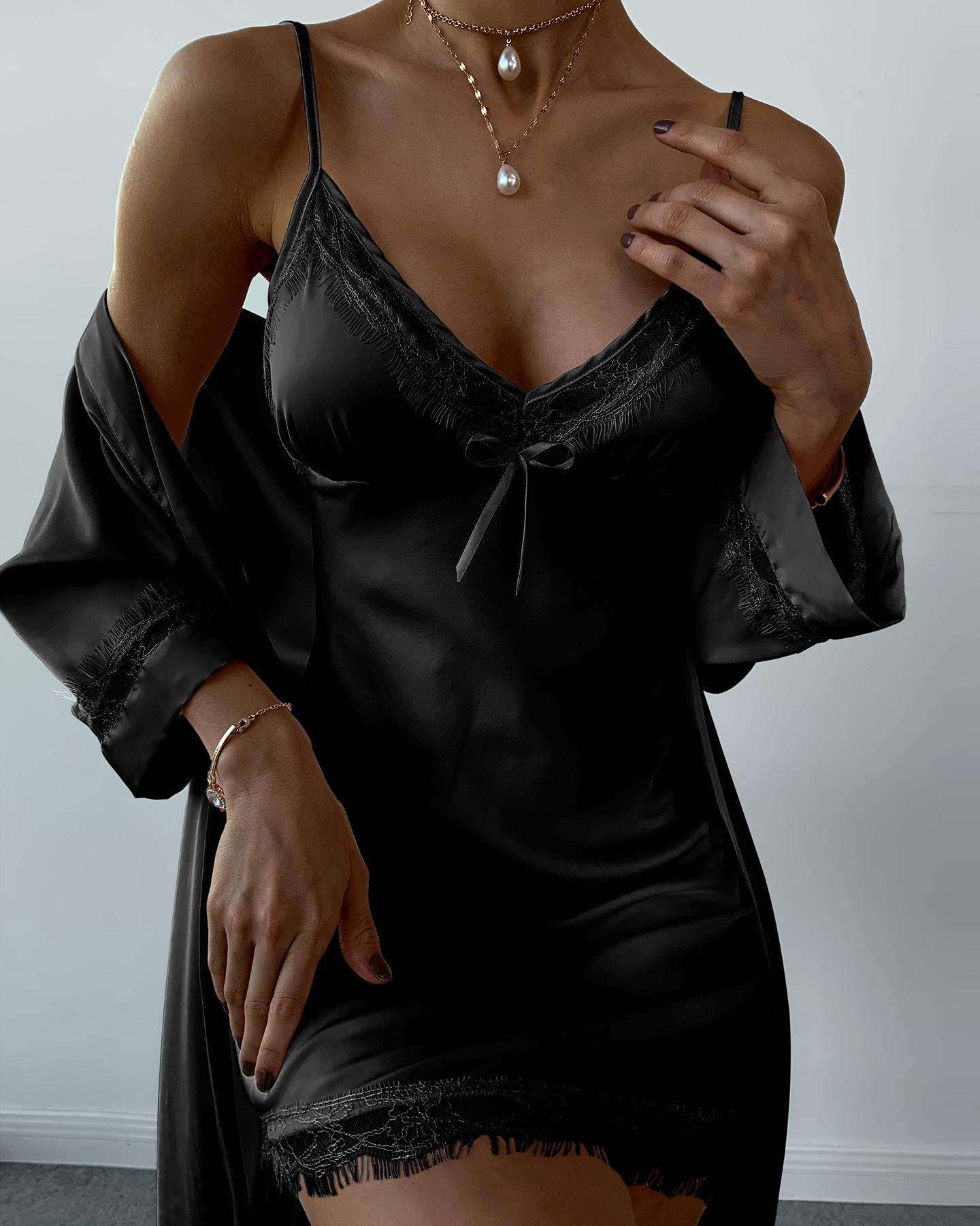 Lace Trim Satin Padded Robe & Gown Set thumbnail