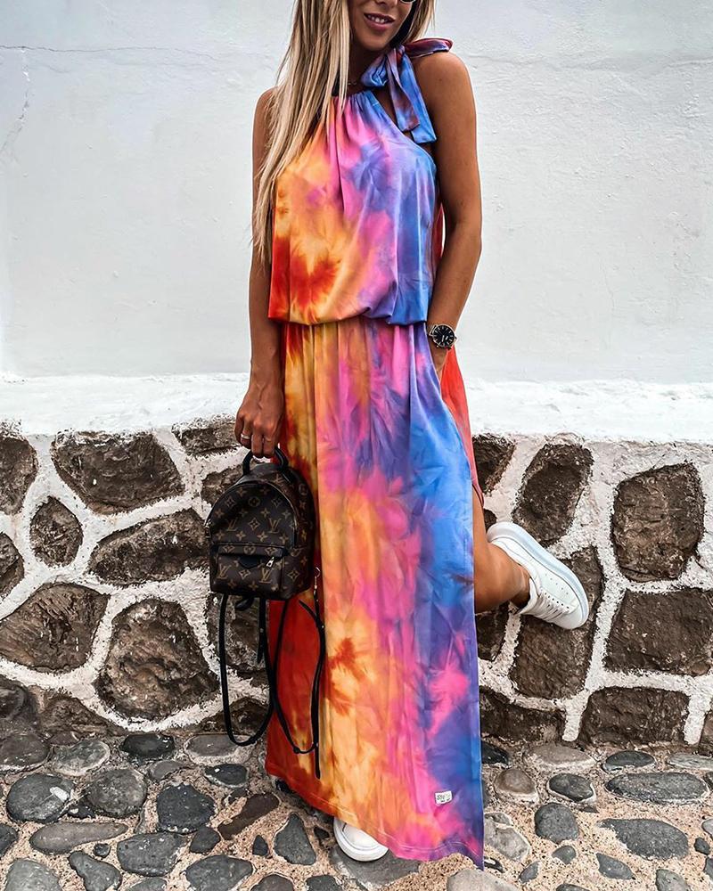 Tie Dye Sleeveless Maxi Dress thumbnail