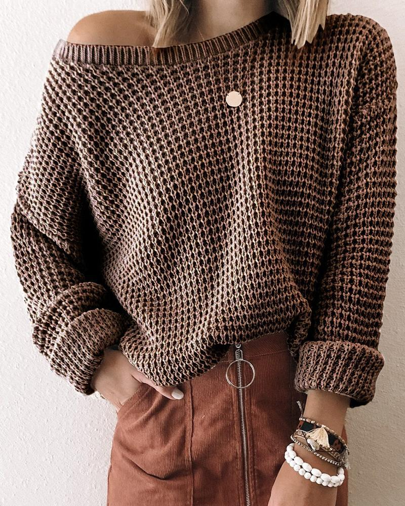 Solid Knit Long Sleeve One Shoulder Casual Sweater thumbnail