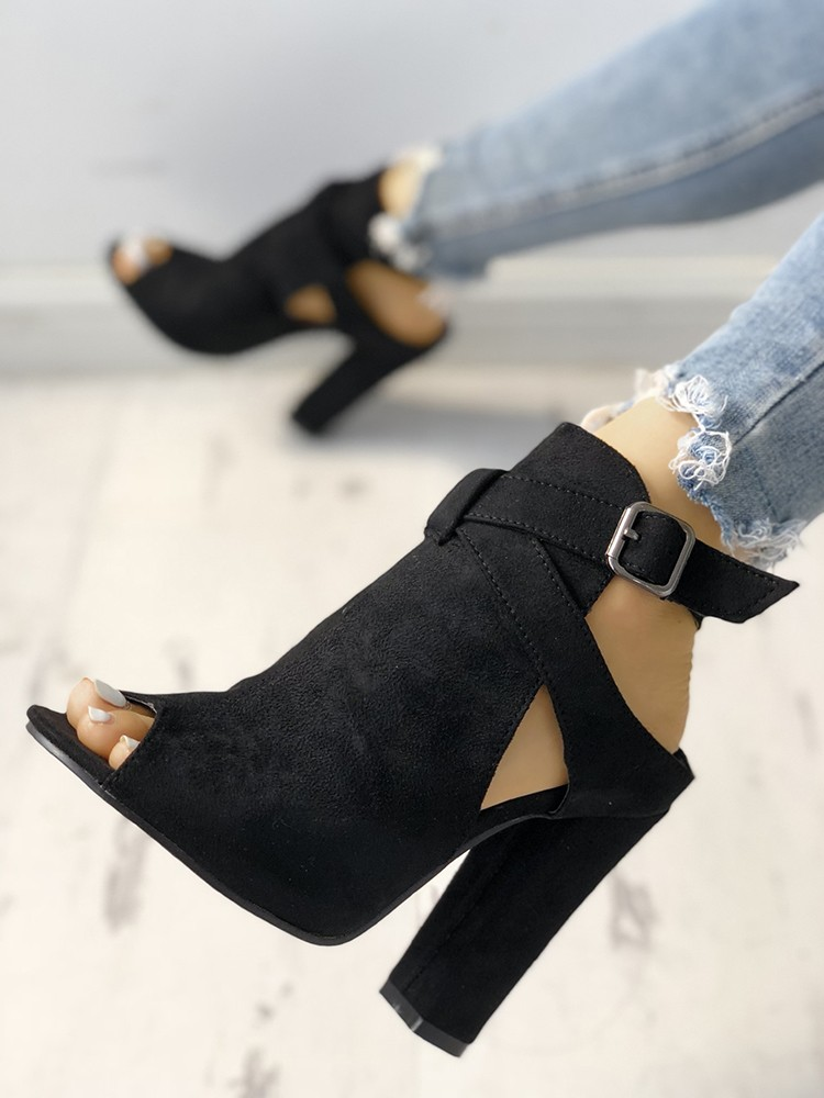boutiquefeel / Open Toe Slingback Chunky Heeled Pumps
