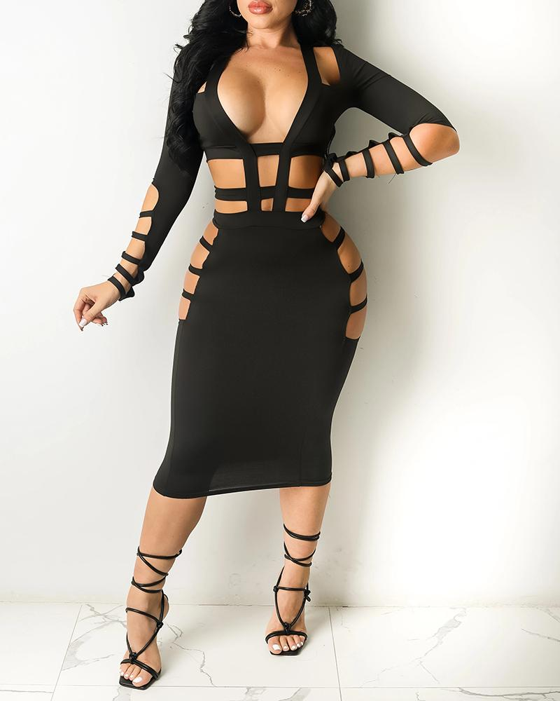 Cutout Plain Plunge Long Sleeve Midi Dress, Black