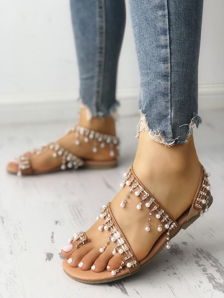 boutiquefeel / Shiny Embellished Toe Post Flat Sandals
