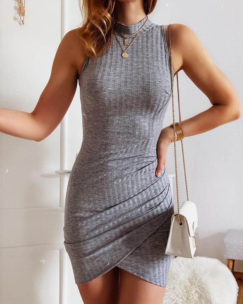 Ribbed Solid Sleeveless Bodycon Dress thumbnail