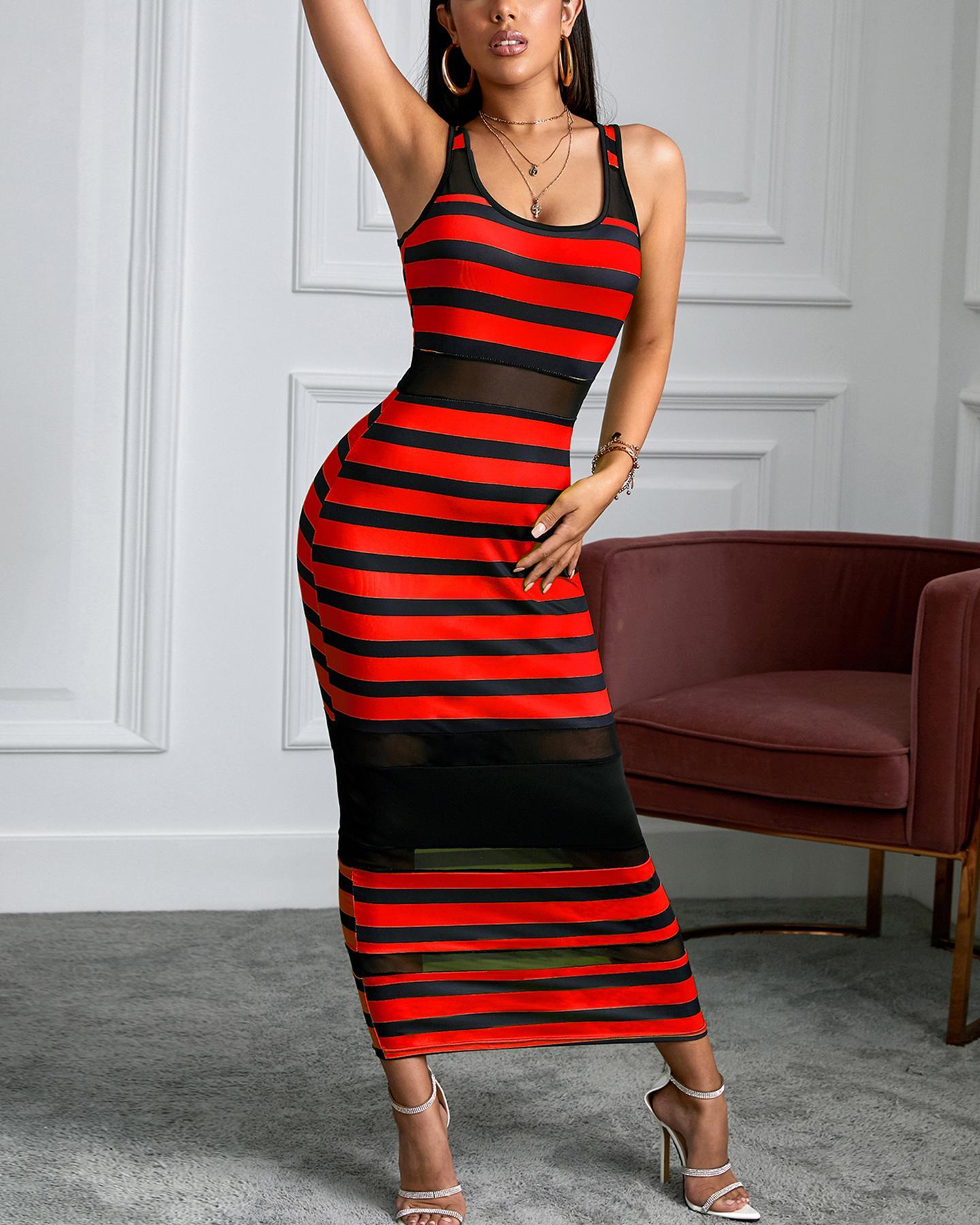 Thin Strap Striped Mesh Dress thumbnail