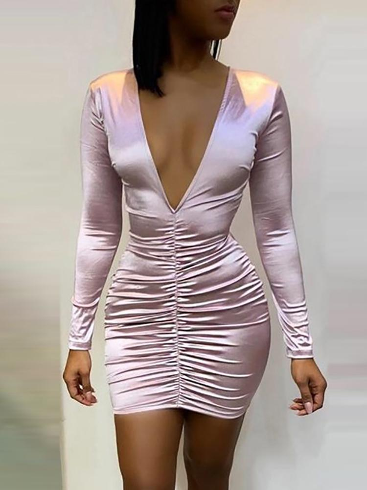 Deep V-Neck Ruched Design Dress