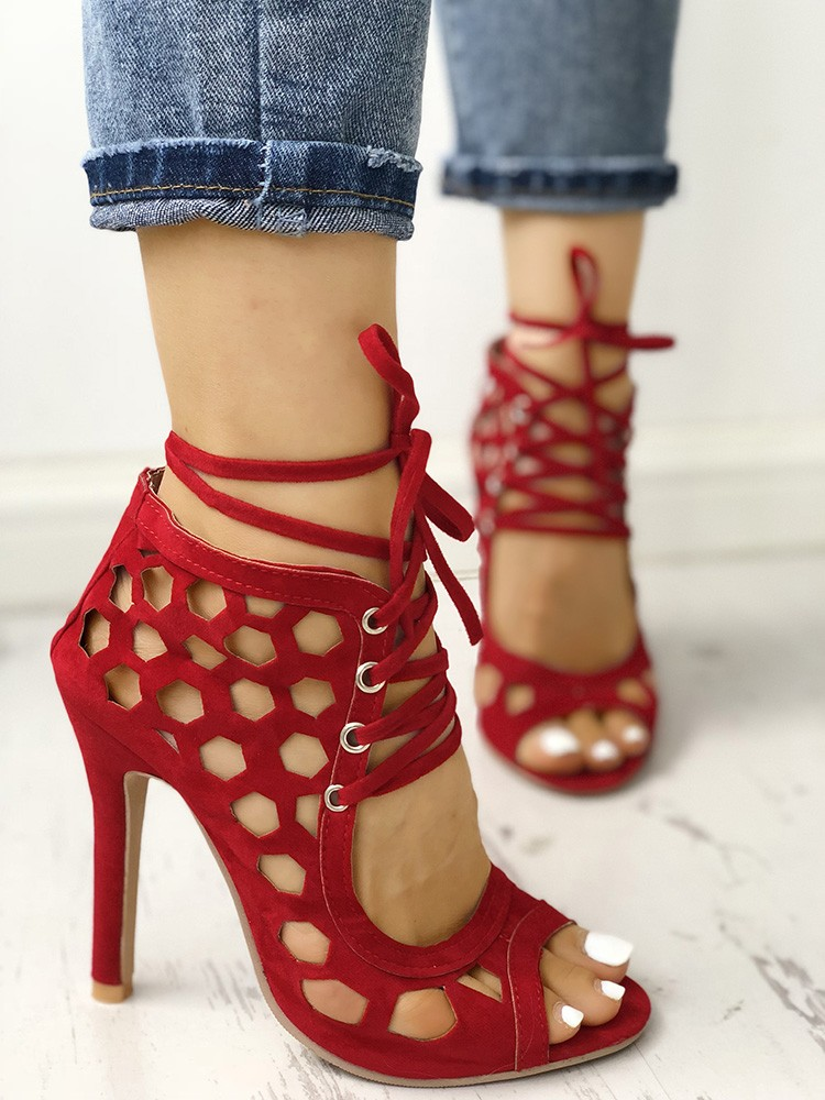 boutiquefeel / Sexy Lace Up Hollow-Out High Heels Sandals