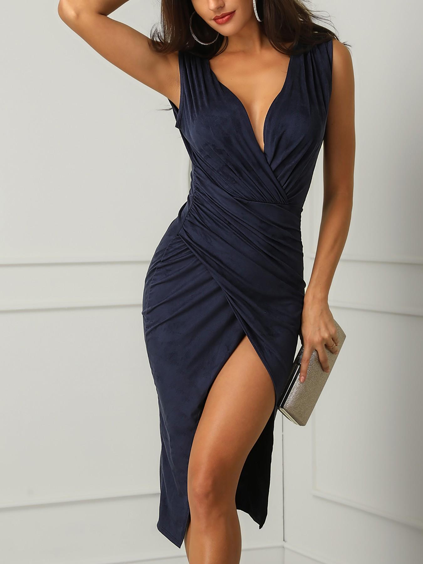 Ruched Wrap Thigh Slit Midi Dress