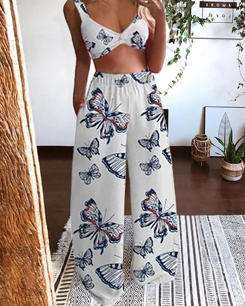 Butterfly Print Crop Top & Wide Leg Pants Set, White