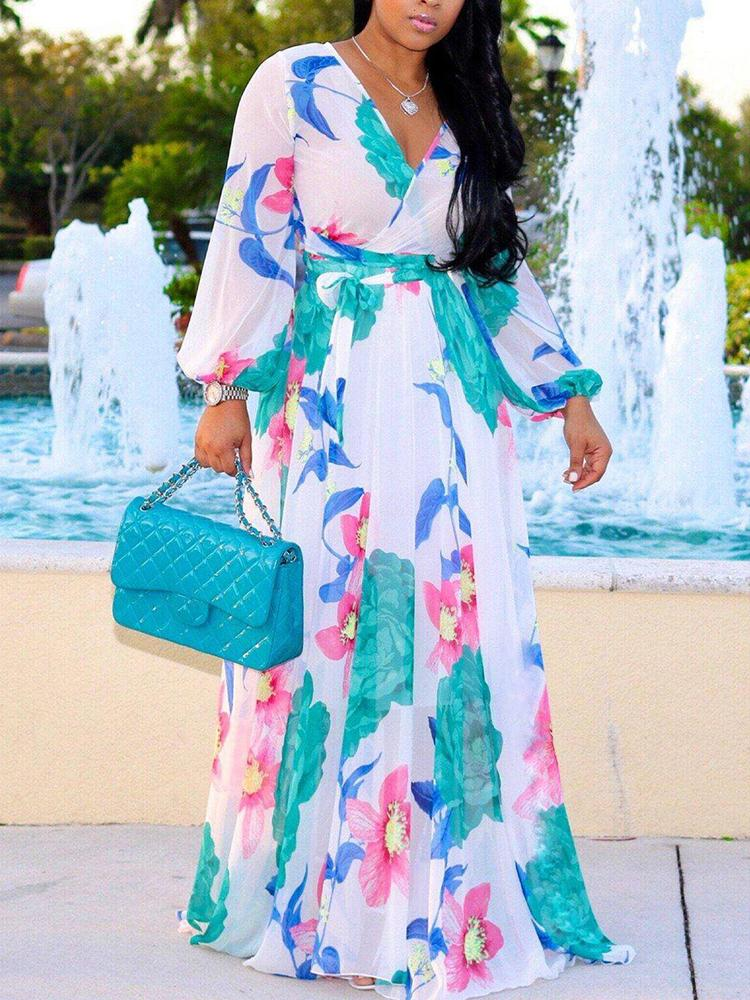 boutiquefeel / Tropical Print Deep V Belted Warp Maxi Dress