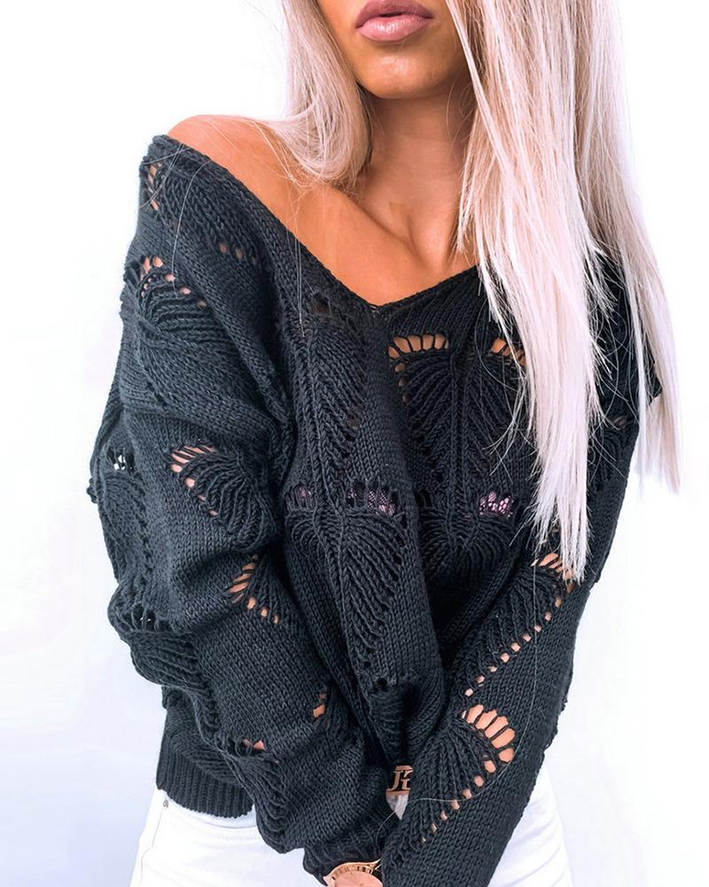 Hollow Out Plain Casual Sweater thumbnail